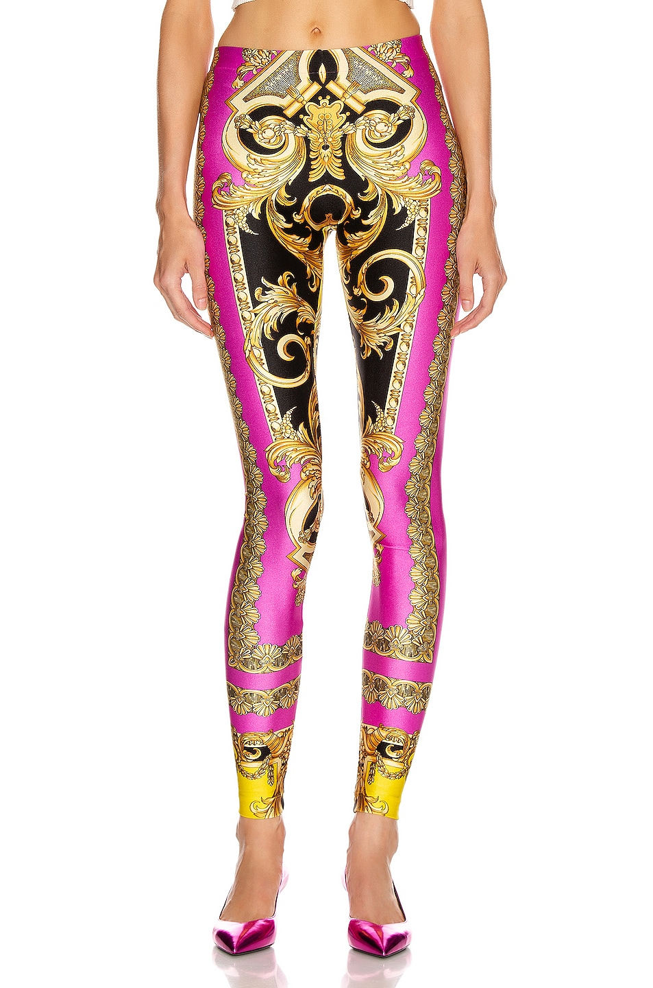 Image 1 of VERSACE Baroque Legging in Fuchsia & Yellow