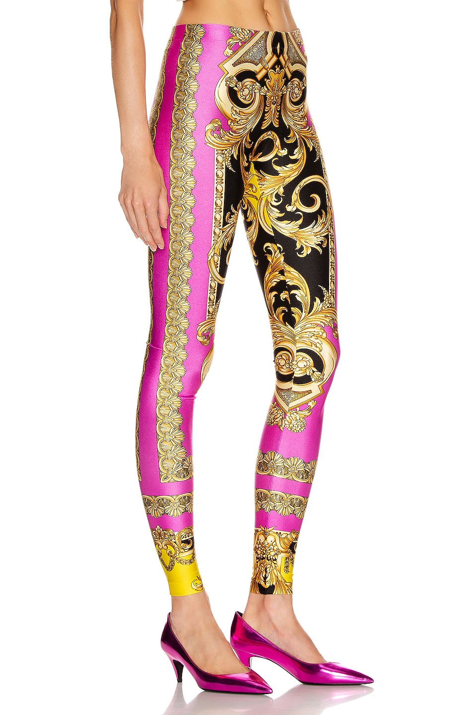 Image 2 of VERSACE Baroque Legging in Fuchsia & Yellow