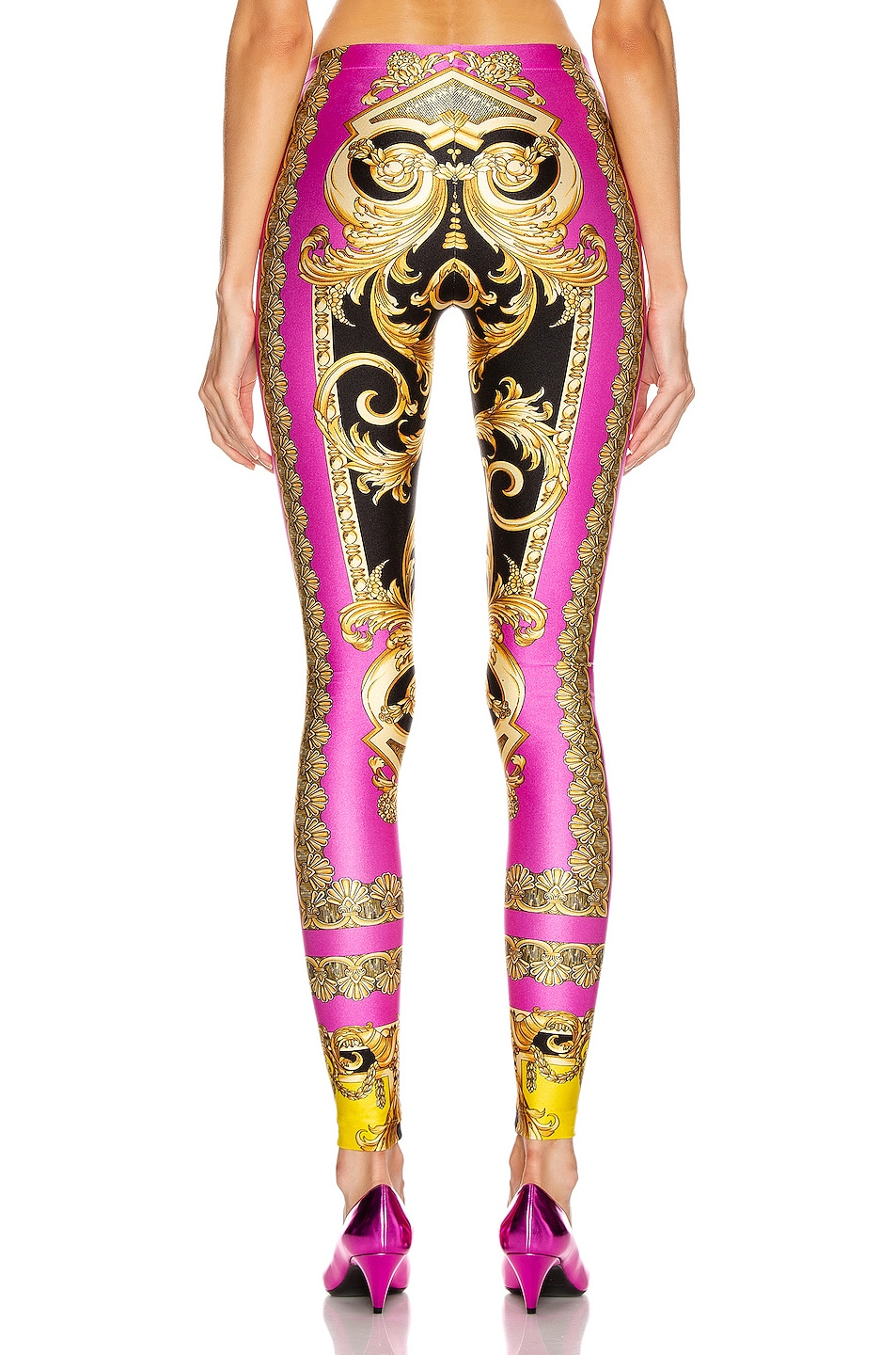Image 3 of VERSACE Baroque Legging in Fuchsia & Yellow