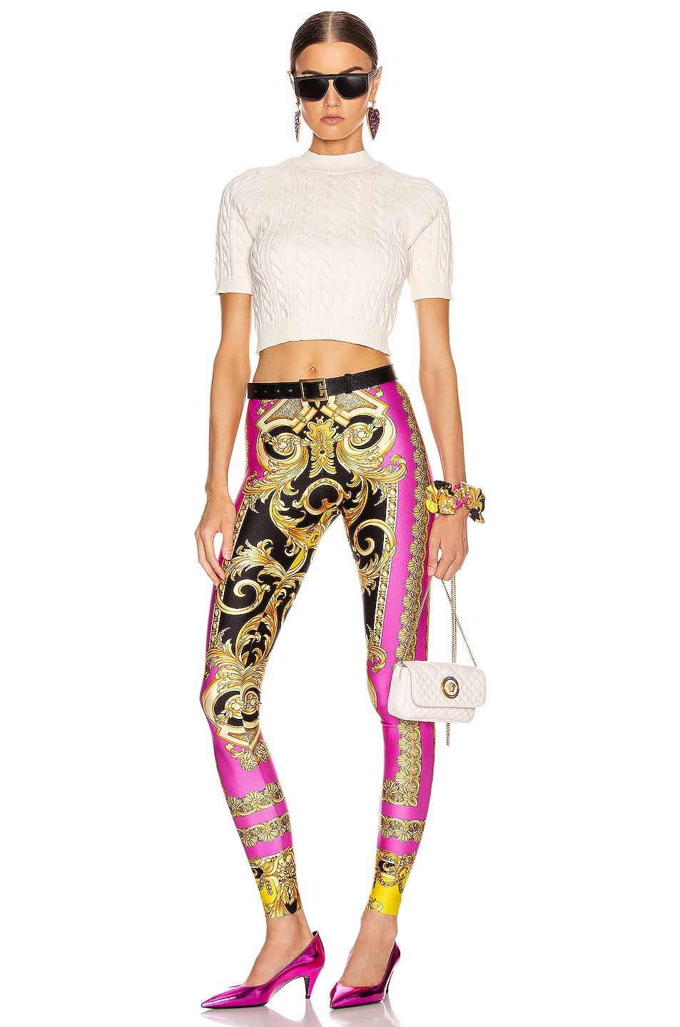 Image 4 of VERSACE Baroque Legging in Fuchsia & Yellow