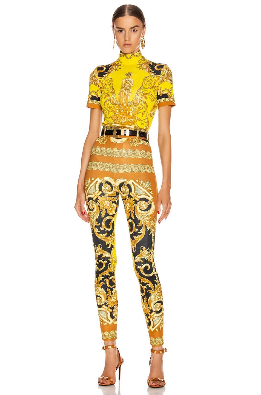 Image 4 of VERSACE Baroque Legging in Black & Yellow