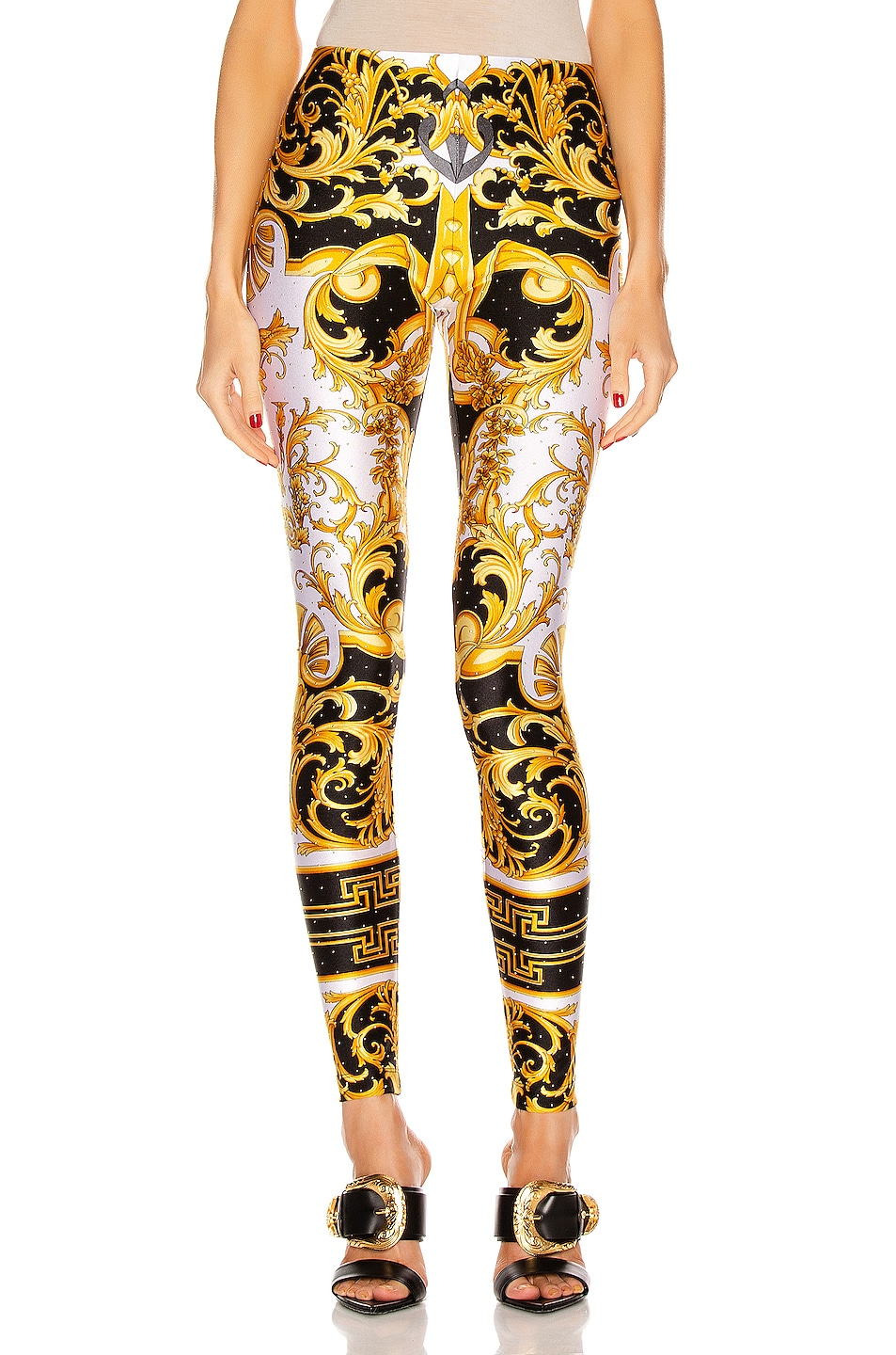 Image 1 of VERSACE Brocade Legging in White & Yellow