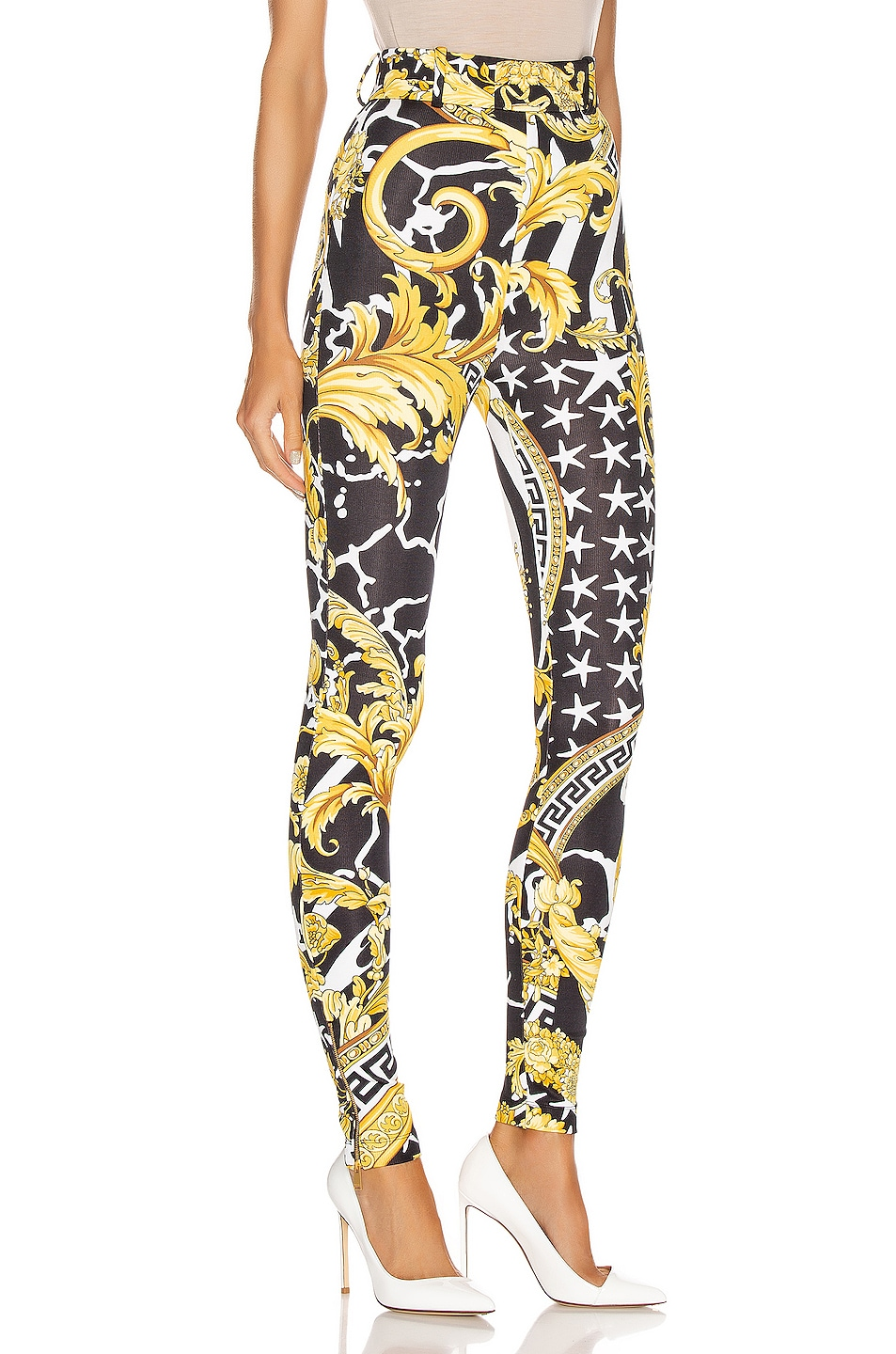 Image 2 of VERSACE Print Legging in Black & Yellow