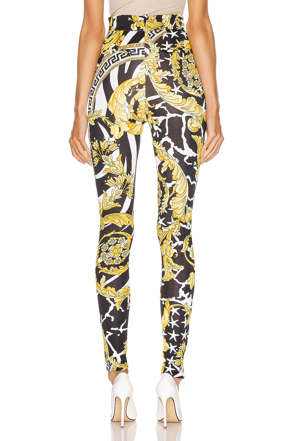 Image 3 of VERSACE Print Legging in Black & Yellow
