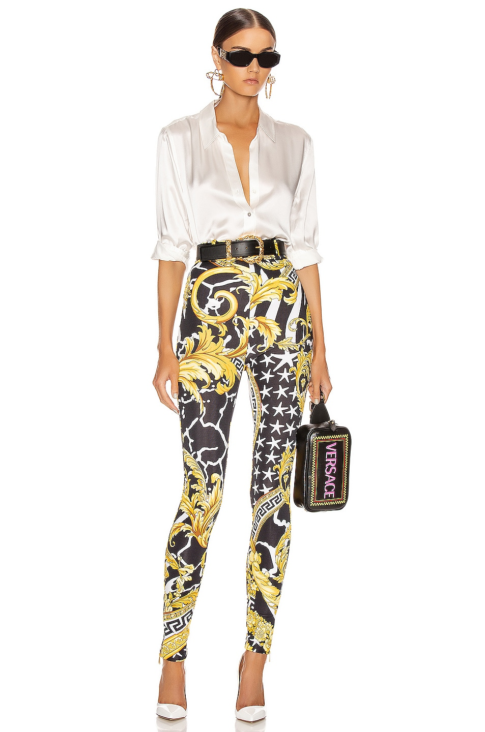 Image 4 of VERSACE Print Legging in Black & Yellow