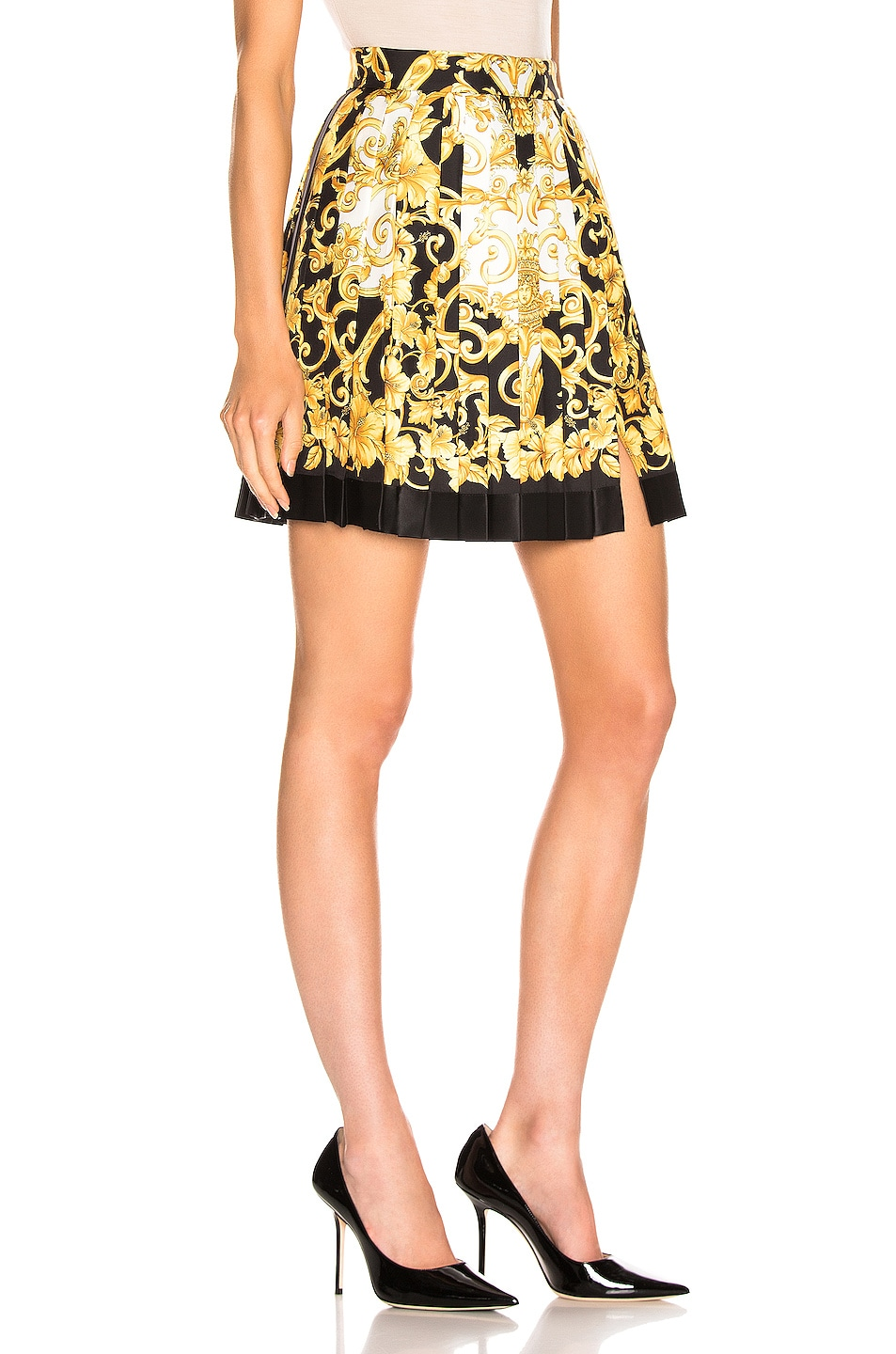 Image 2 of VERSACE Woven Print Skirt in Black & Stampa