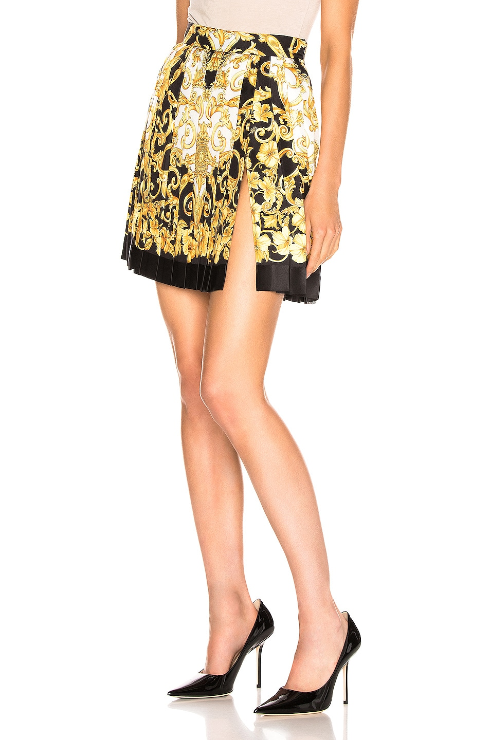 Image 3 of VERSACE Woven Print Skirt in Black & Stampa