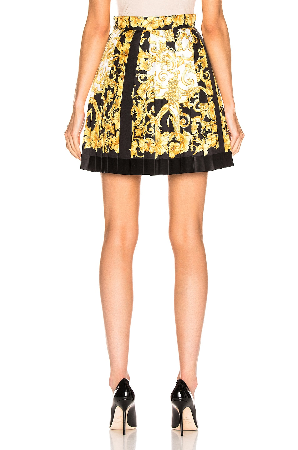 Image 4 of VERSACE Woven Print Skirt in Black & Stampa