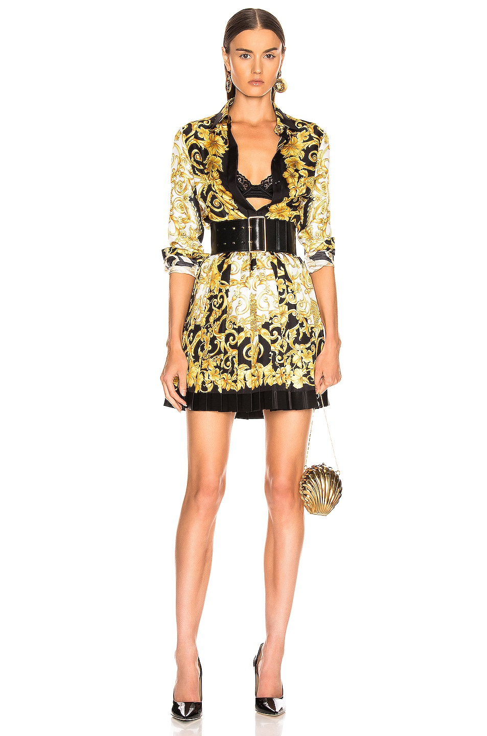 Image 5 of VERSACE Woven Print Skirt in Black & Stampa