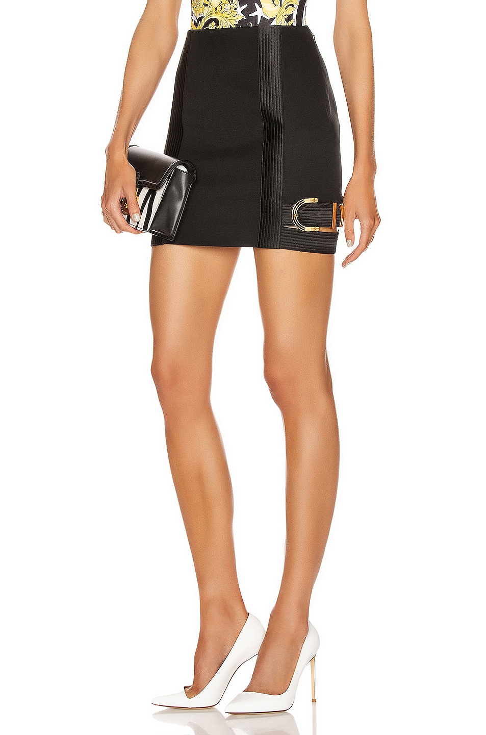 Image 1 of VERSACE Buckle Mini Skirt in Black