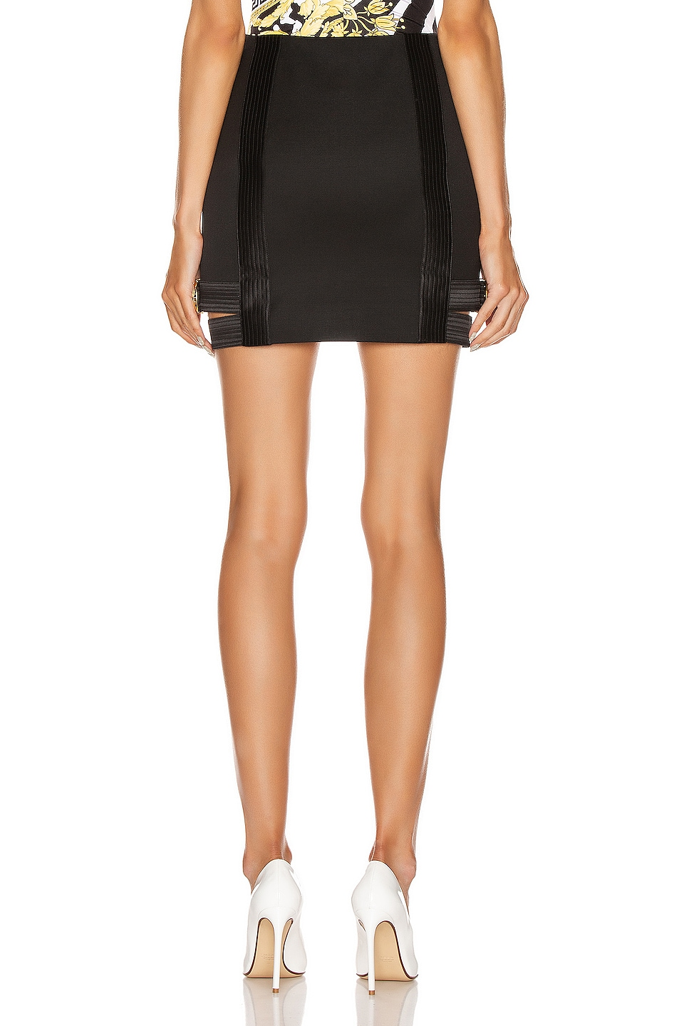 Image 4 of VERSACE Buckle Mini Skirt in Black
