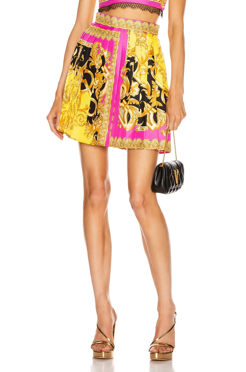 Image 1 of VERSACE Baroque Pleated Mini Skirt in Fuchsia & Yellow