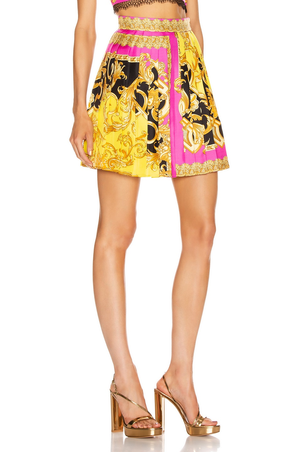 Image 2 of VERSACE Baroque Pleated Mini Skirt in Fuchsia & Yellow
