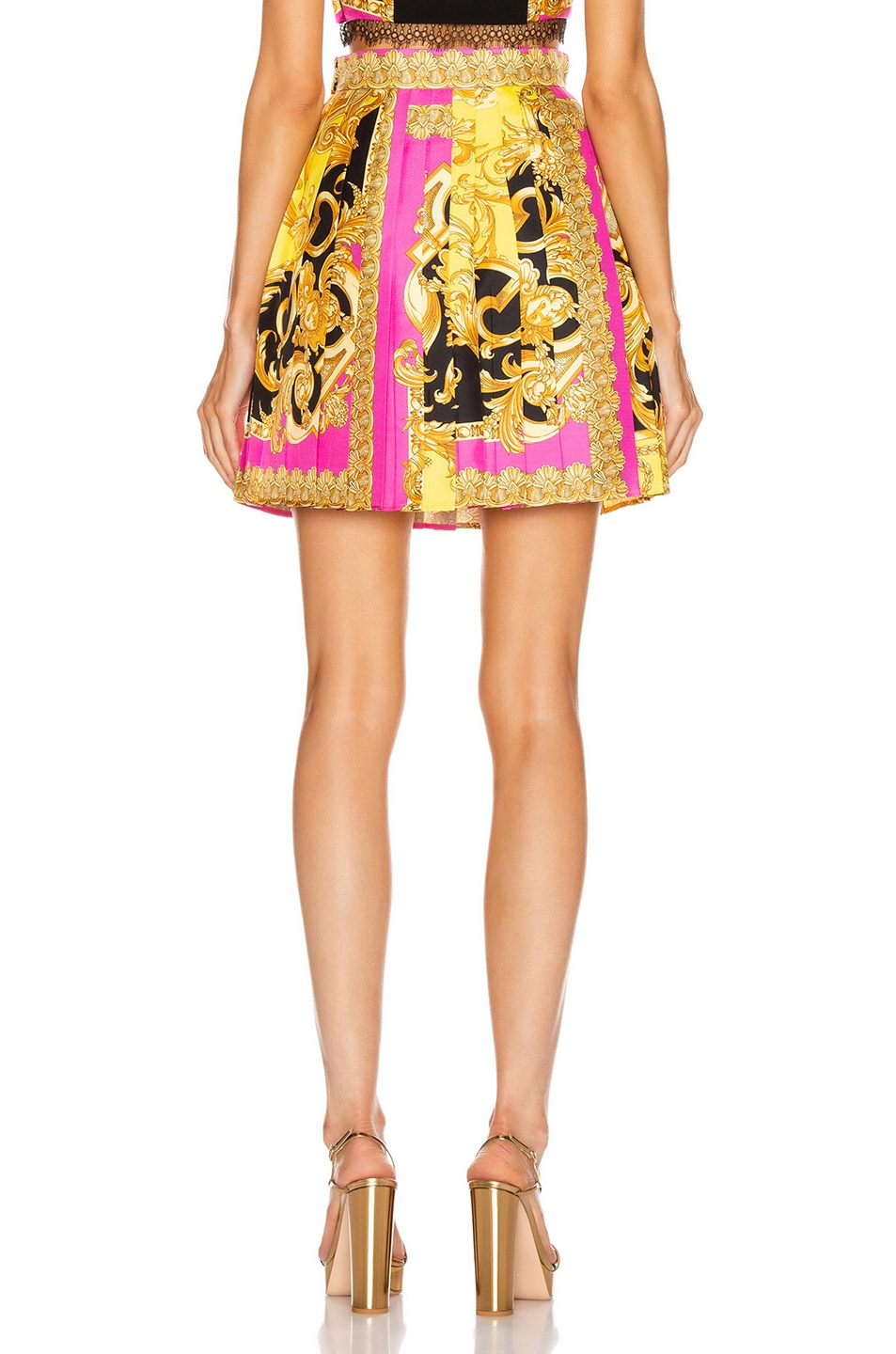Image 3 of VERSACE Baroque Pleated Mini Skirt in Fuchsia & Yellow