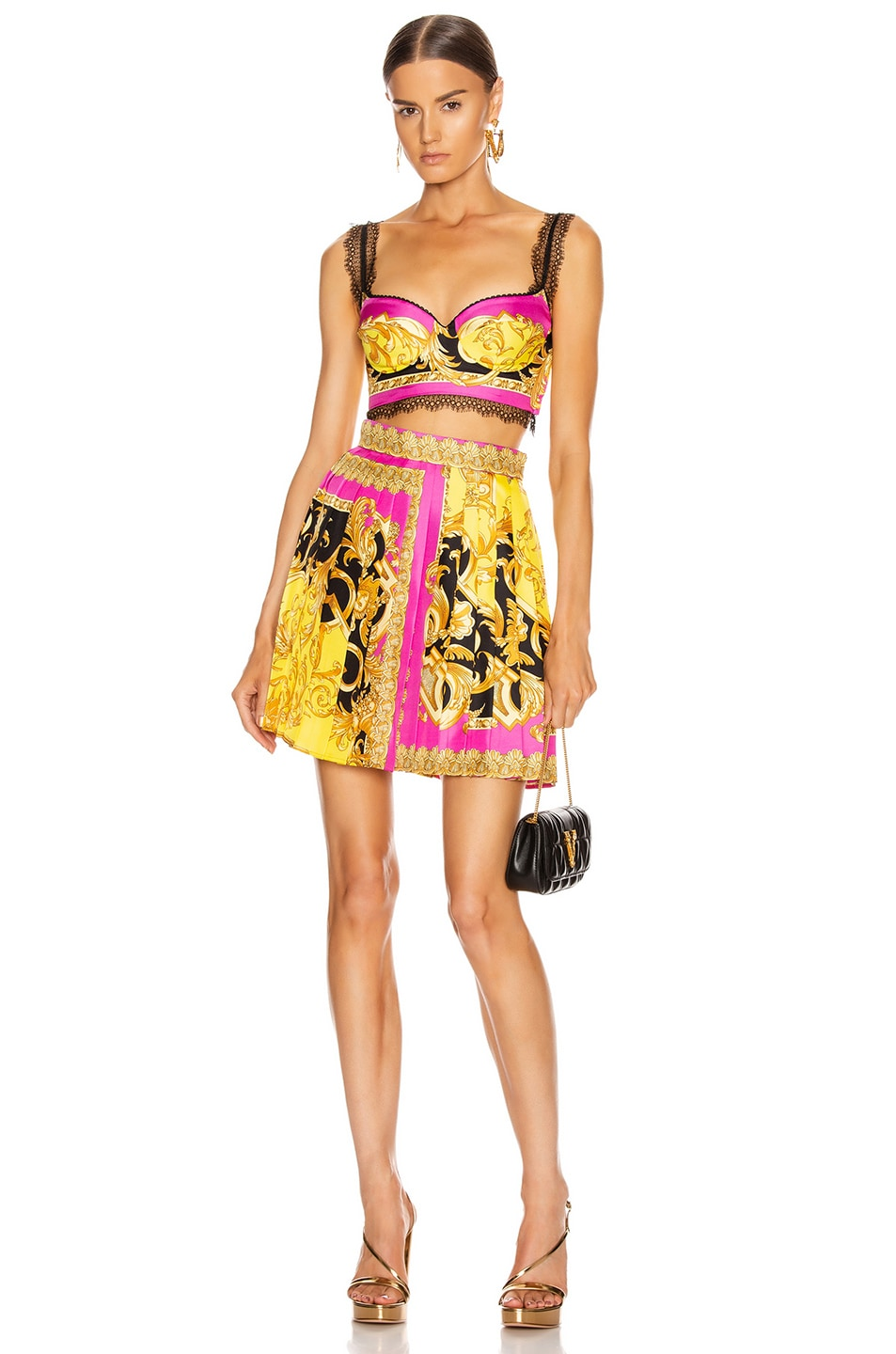 Image 4 of VERSACE Baroque Pleated Mini Skirt in Fuchsia & Yellow