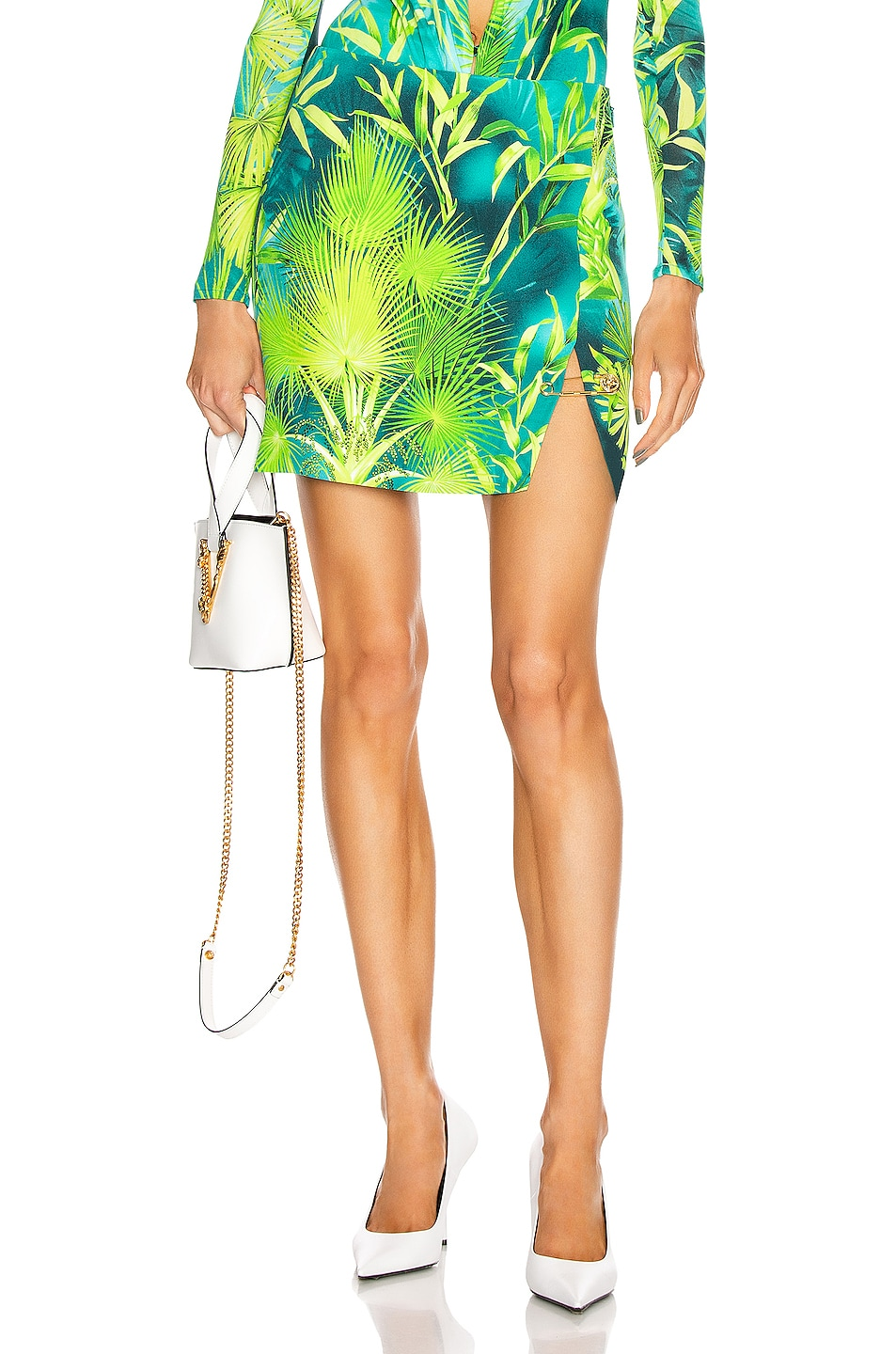 Image 1 of VERSACE Palm Mini Skirt in Green