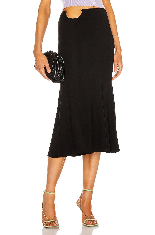 Image 1 of VERSACE Midi Flare Skirt in Nero