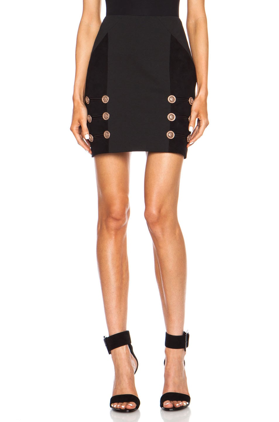 Image 1 of VERSACE Military Band Viscose-Blend Skirt in Black