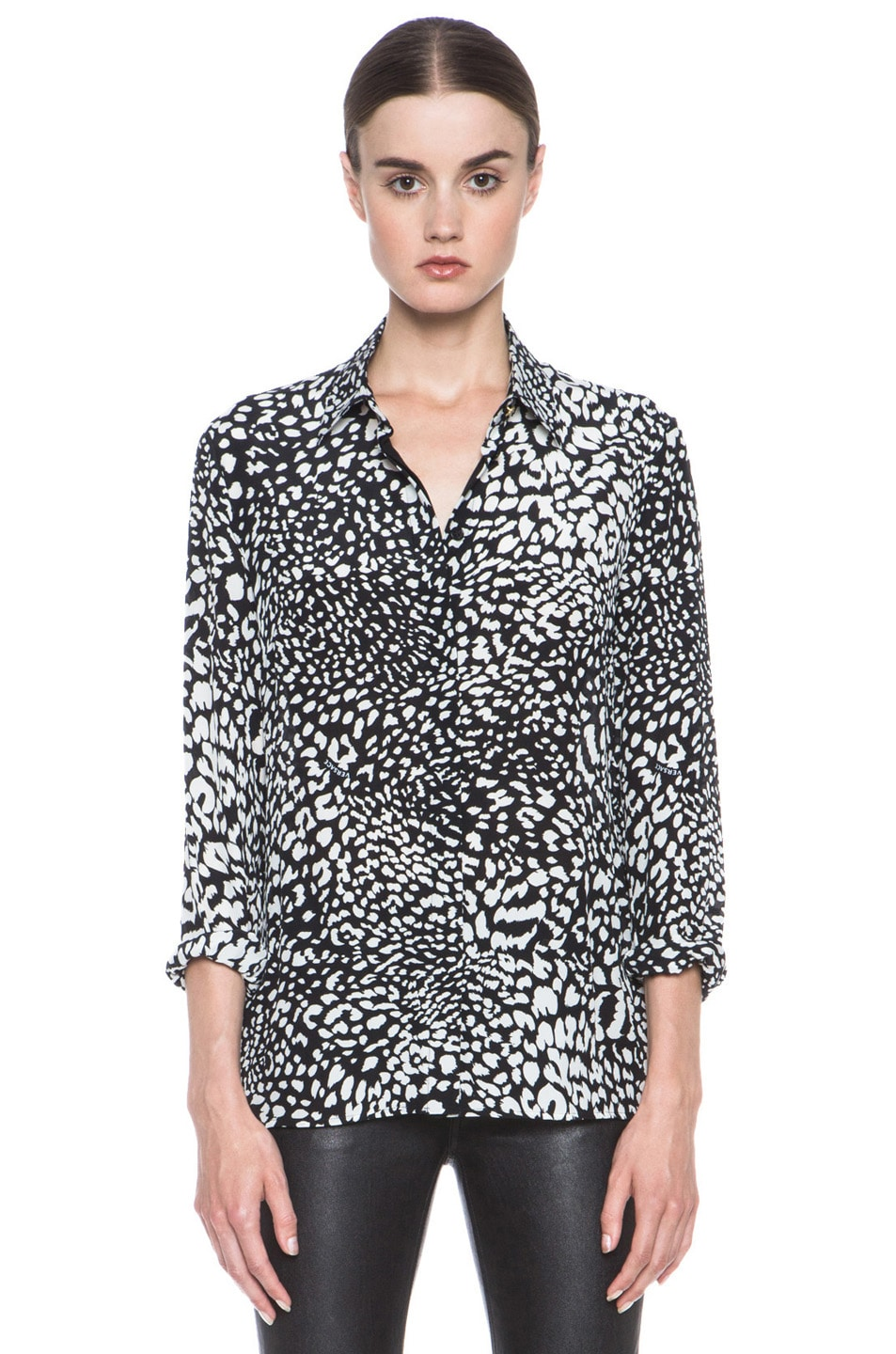Image 1 of VERSACE Stamp Print Silk Blouse in Black