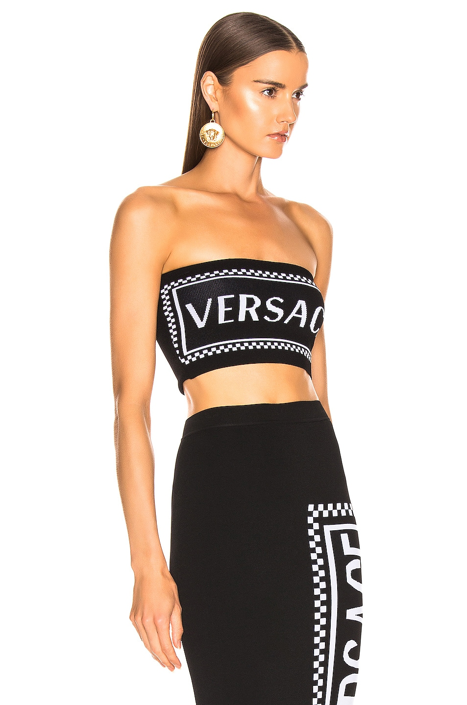 Image 2 of VERSACE Logo Tube Top in Black