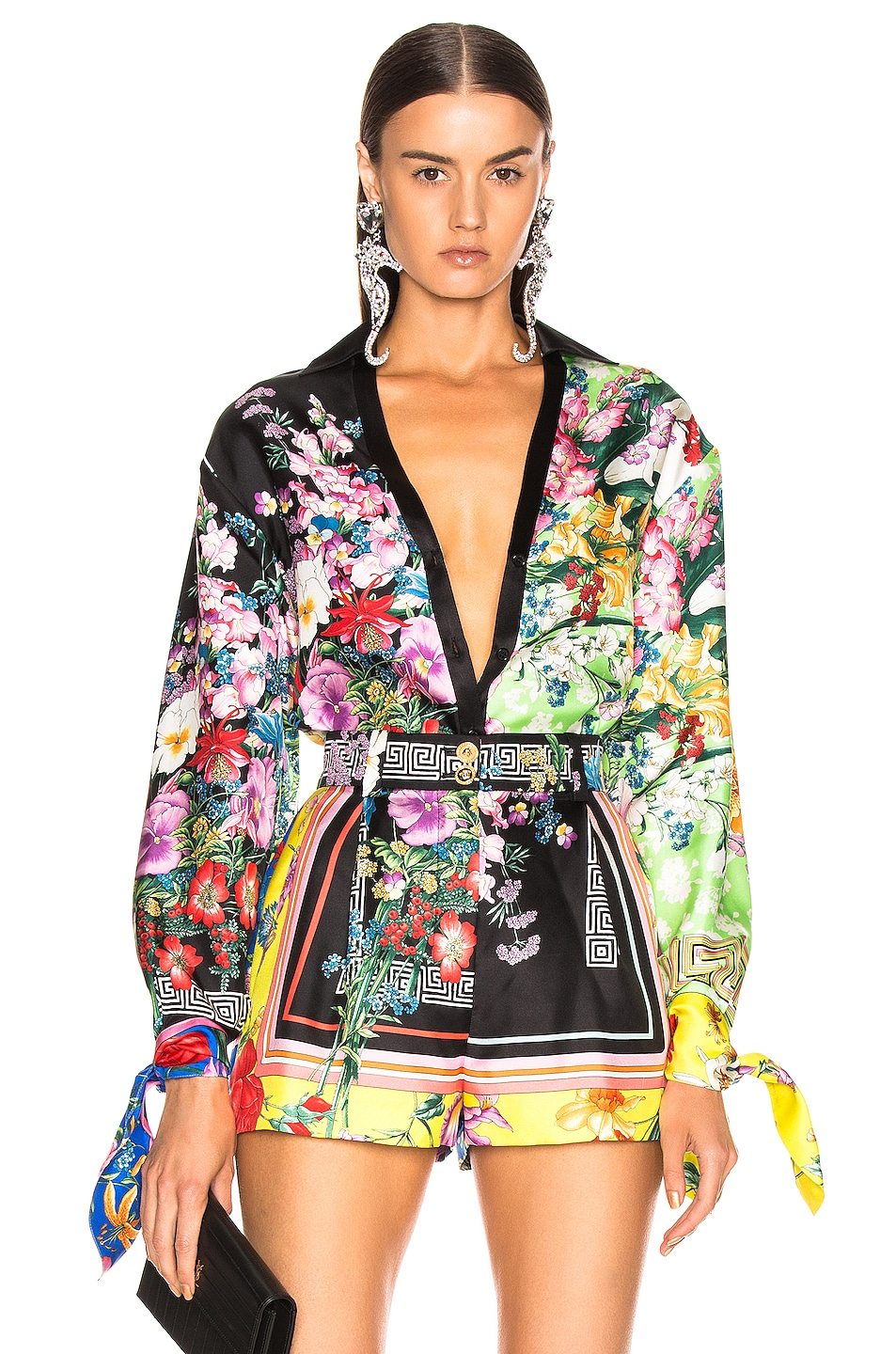 Image 1 of VERSACE Floral Print Top in Multi