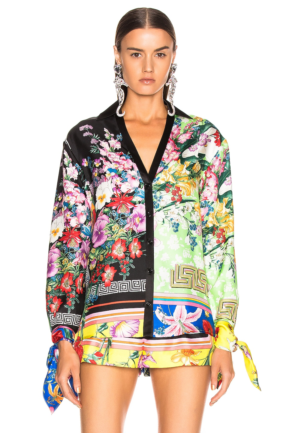 Image 2 of VERSACE Floral Print Top in Multi