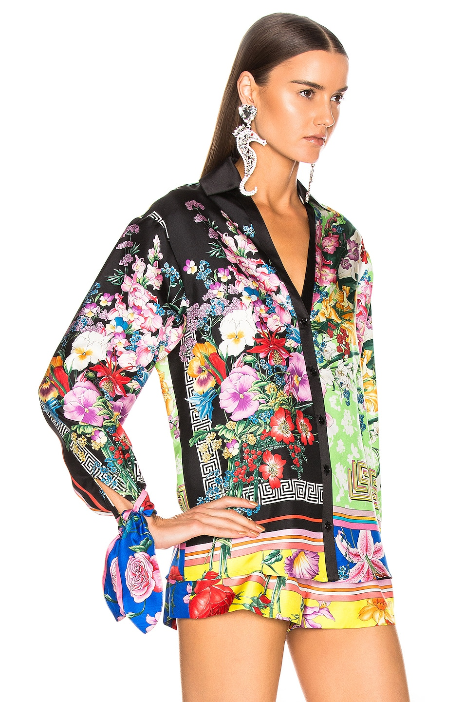 Image 3 of VERSACE Floral Print Top in Multi