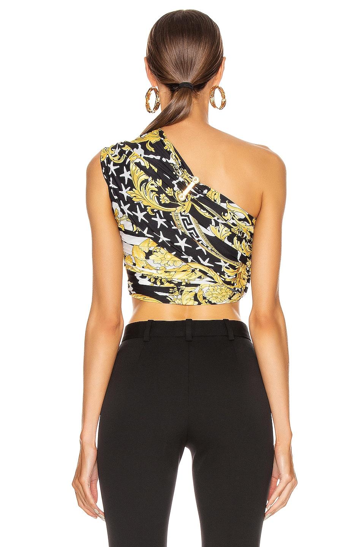 Image 4 of VERSACE Print One Shoulder Crop Top in Black & Yellow