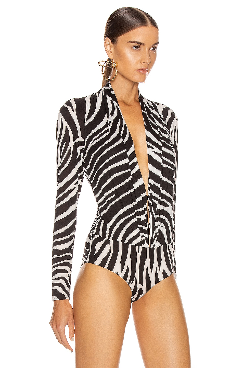Image 3 of VERSACE Zebra Bodysuit in Black & White