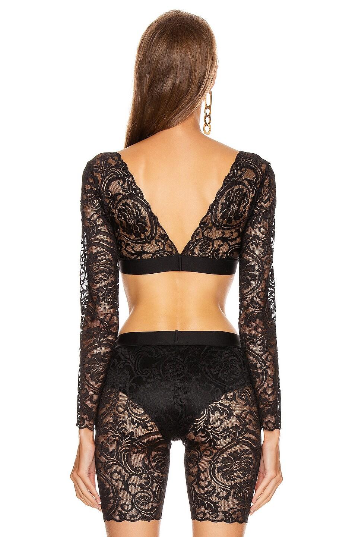 Image 3 of VERSACE Lace Long Sleeve Crop Top in Black