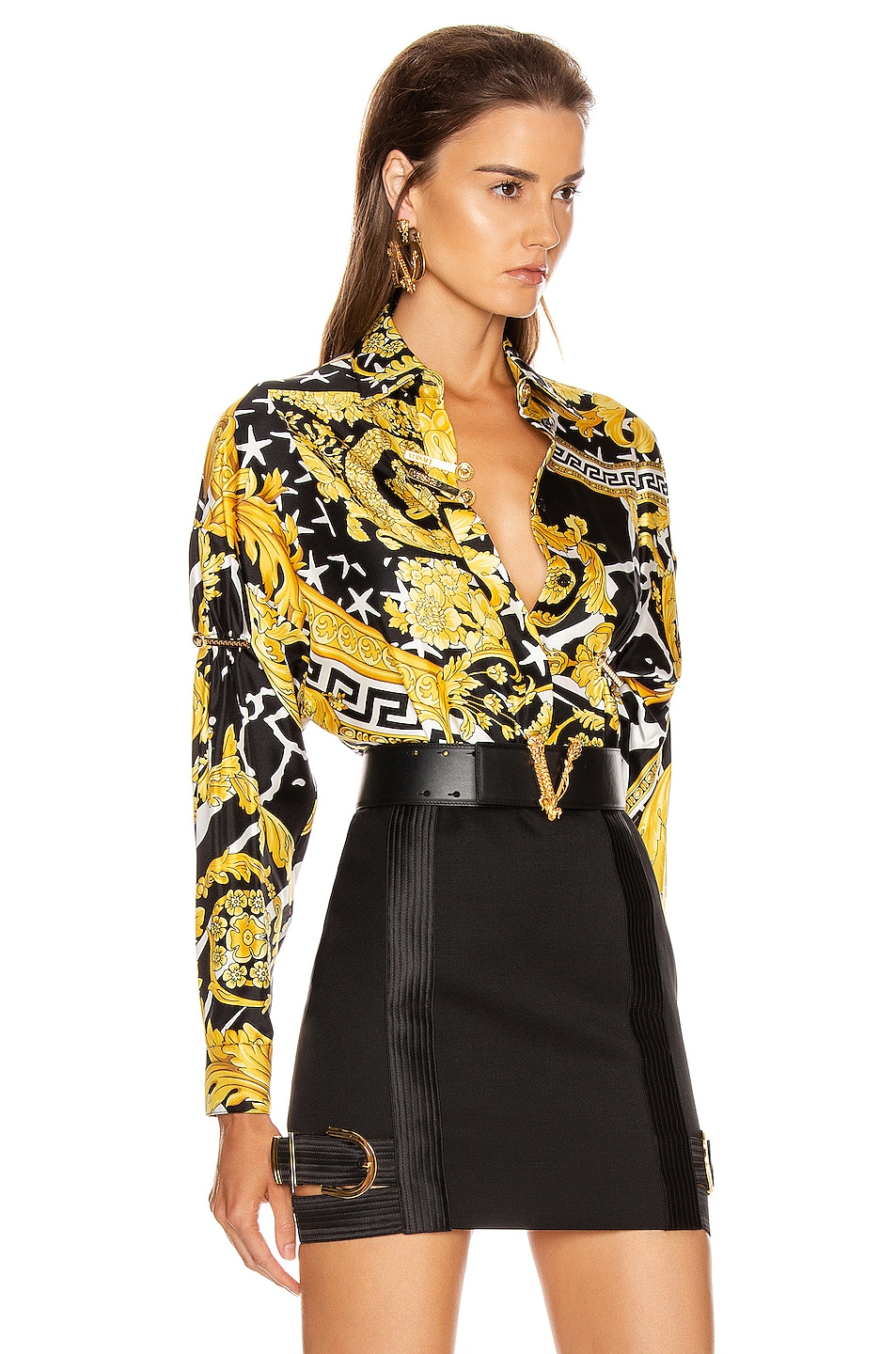 Image 2 of VERSACE Long Sleeve Print Blouse in Black & Yellow