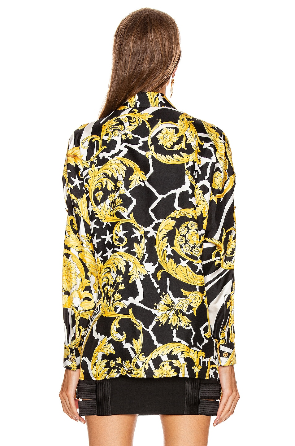 Image 3 of VERSACE Long Sleeve Print Blouse in Black & Yellow