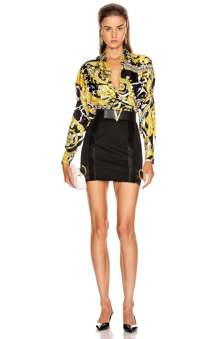 Image 4 of VERSACE Long Sleeve Print Blouse in Black & Yellow