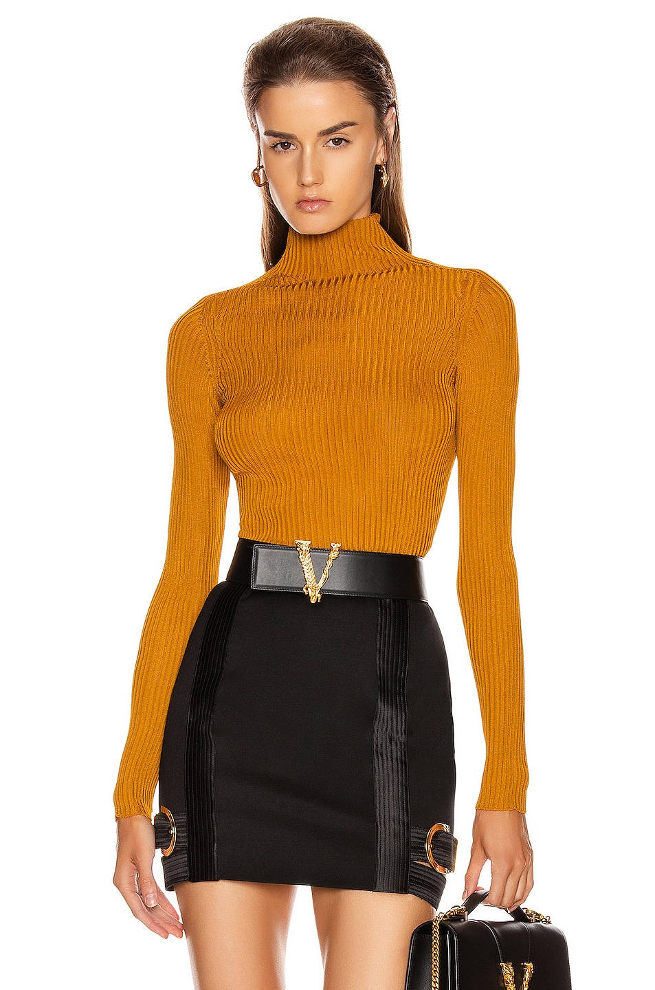 Image 1 of VERSACE Long Sleeve Turtleneck Top in Caramello