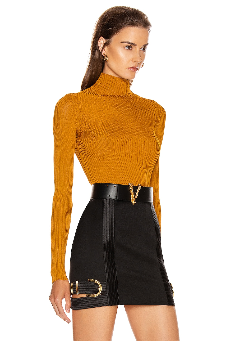 Image 2 of VERSACE Long Sleeve Turtleneck Top in Caramello