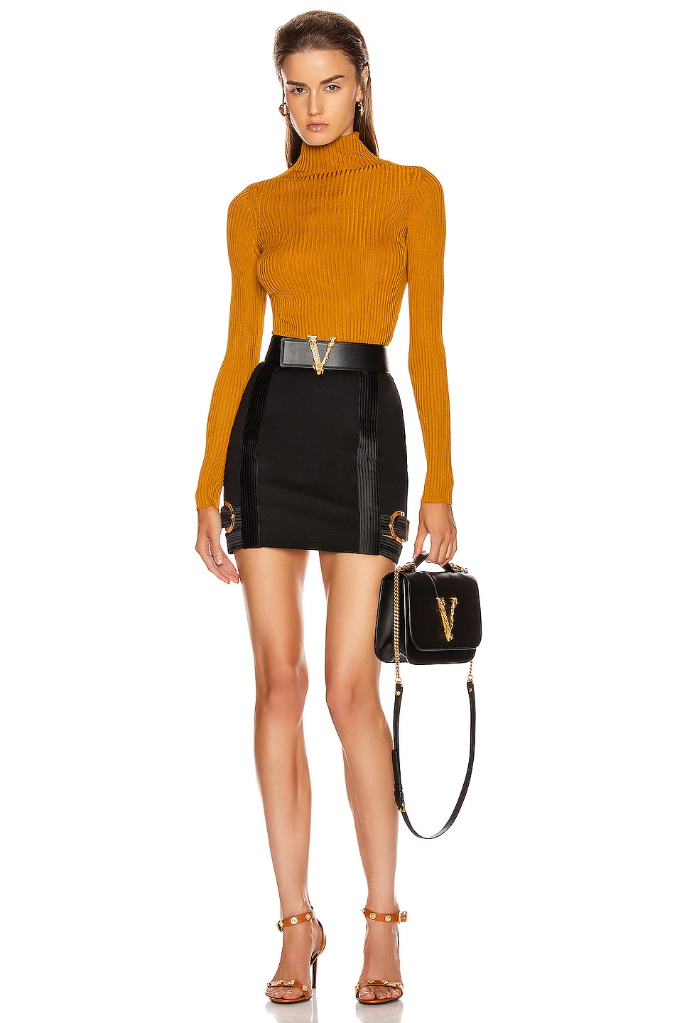 Image 4 of VERSACE Long Sleeve Turtleneck Top in Caramello