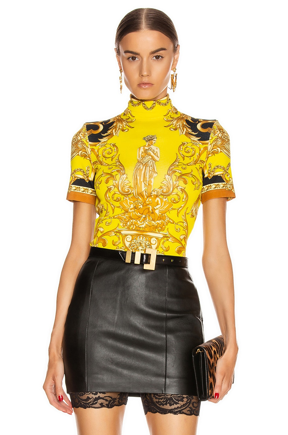 Image 1 of VERSACE Baroque Turtleneck Crop Top in Caramel & Yellow