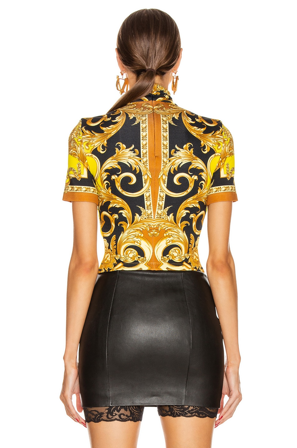 Image 3 of VERSACE Baroque Turtleneck Crop Top in Caramel & Yellow