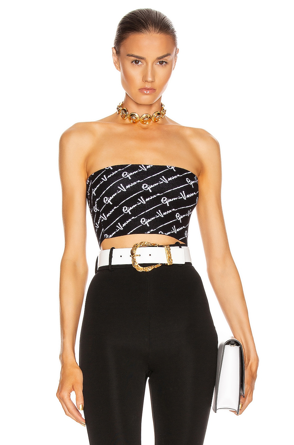 Image 1 of VERSACE Text Print Strapless Crop Top in Black & White