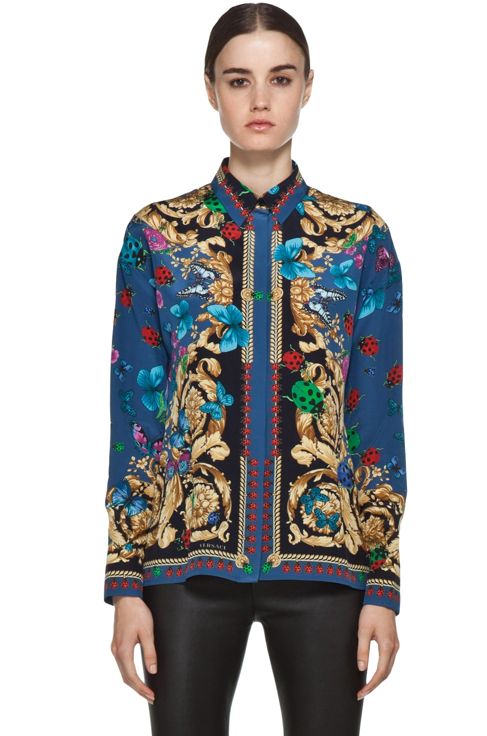 Image 1 of VERSACE Ladybug Floral Print Silk Blouse in Blue