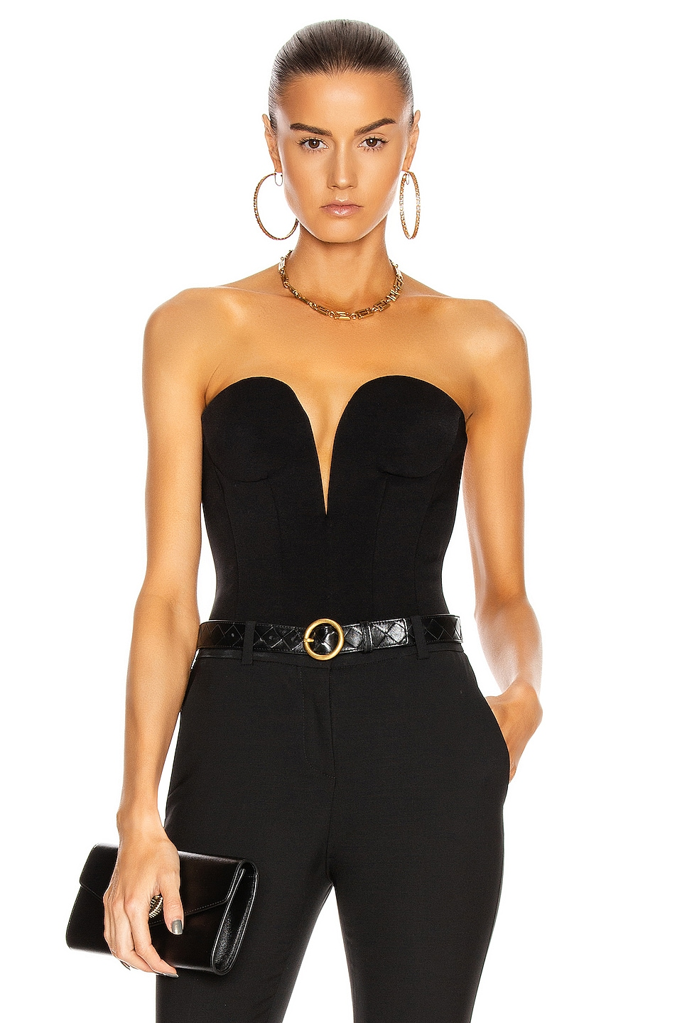 Image 1 of VERSACE Strapless Plunging Top in Black