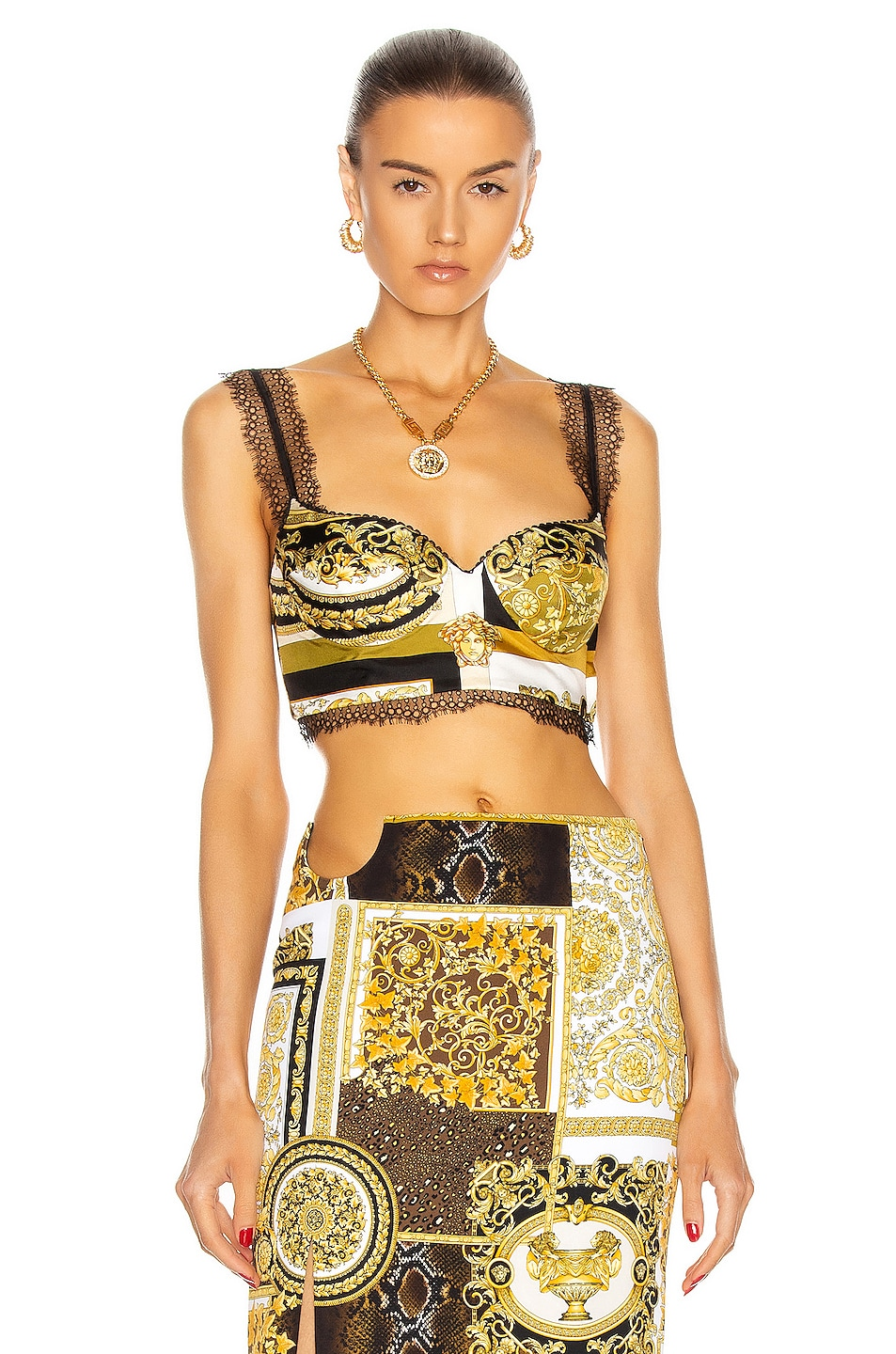 Image 1 of VERSACE Barocco Lace Bra Top in White & Gold