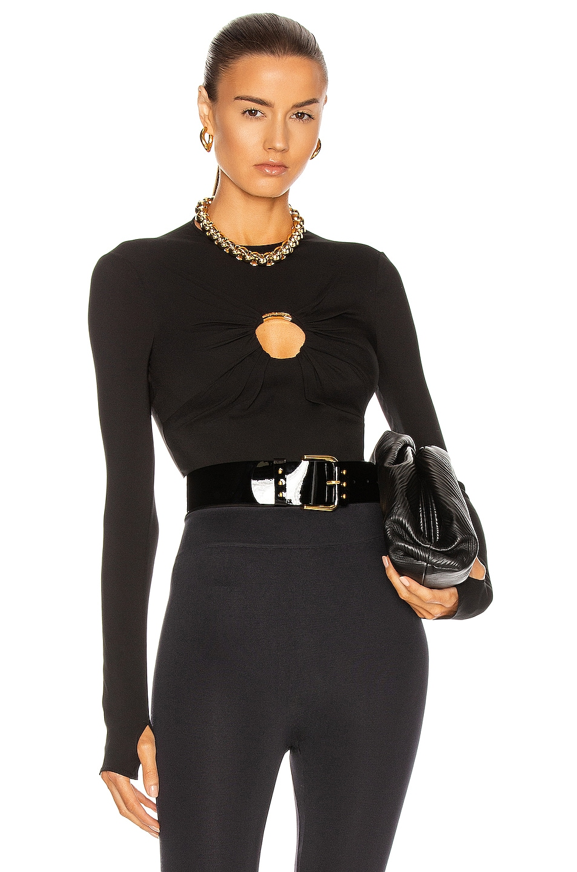 Image 1 of VERSACE O Ring Bodysuit in Nero