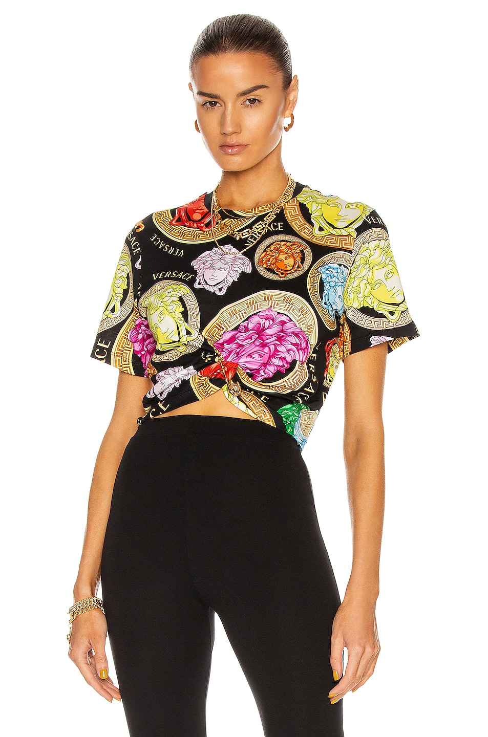 Image 1 of VERSACE Medusa Amplified All Over T Shirt in Nero & Multicolor
