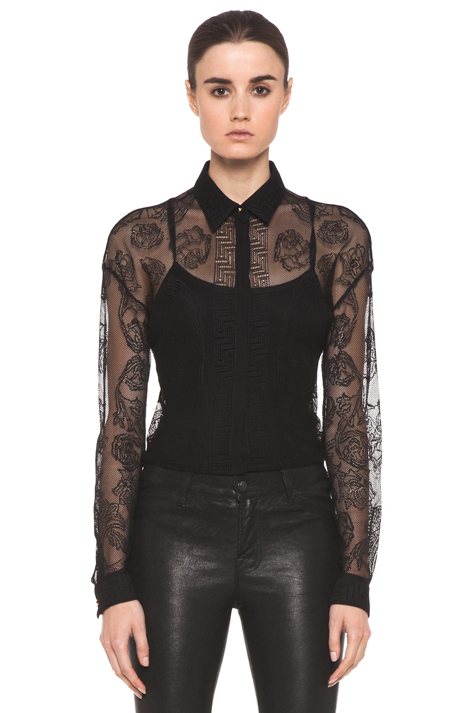 Image 1 of VERSACE Lace Blouse in Black