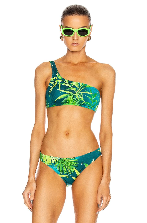 Image 1 of VERSACE One Shoulder Swim Top in Green