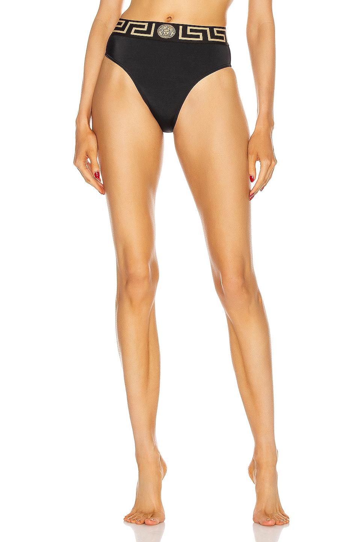 Image 1 of VERSACE High Waisted Bikini Bottom in Black