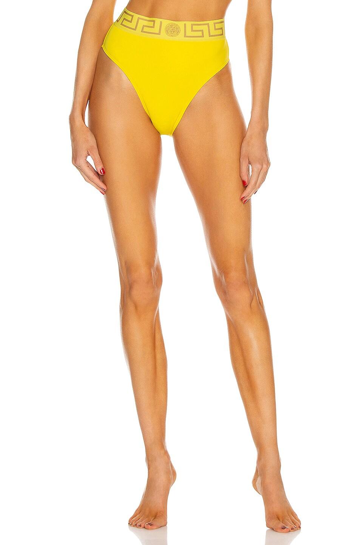 Image 1 of VERSACE High Waisted Bikini Bottom in Sunset Yellow