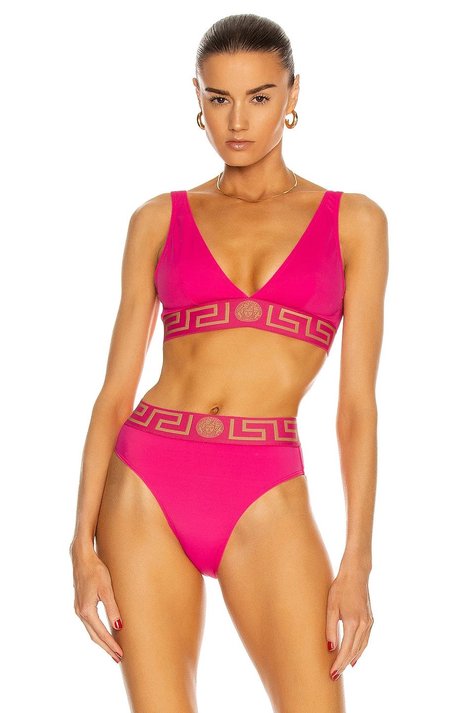 Image 1 of VERSACE Triangle Bikini Top in Fuchsia