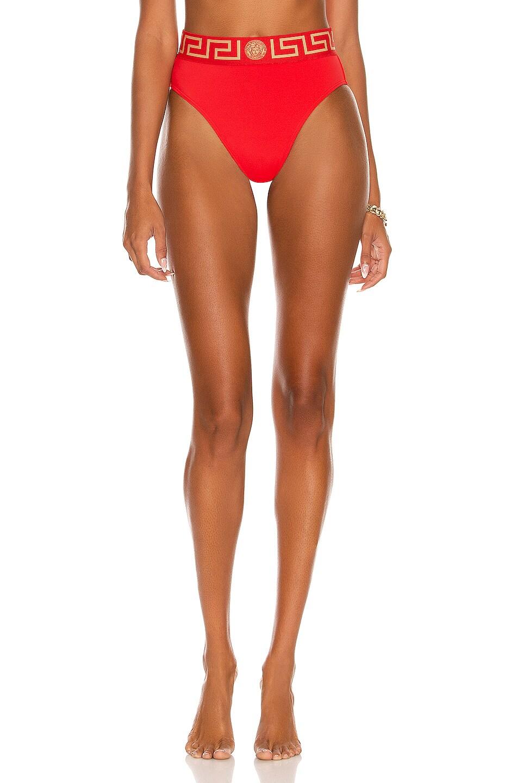 Image 1 of VERSACE High Waisted Bikini Bottom in Rosso